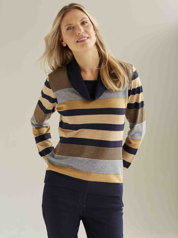 EUGEN KLEIN Stripe Cowl-neck jumper