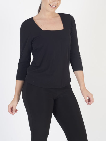 Franchesca Black Square Neck Jersey Top