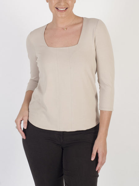 Franchesca Beige Square Neck Jersey Top