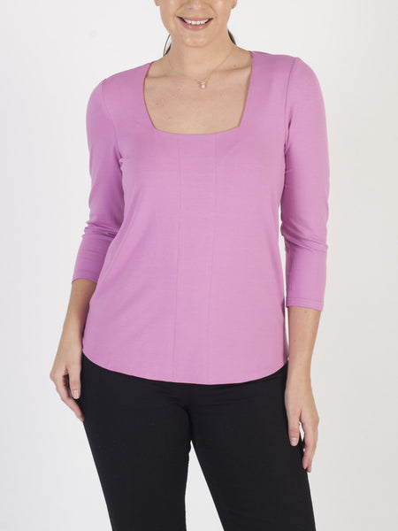 Franchesca Pink Square Neck Jersey Top