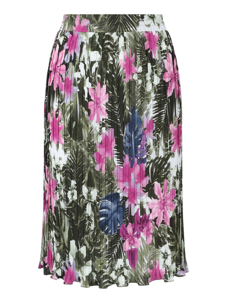 Frank Walder Khaki/Fuschia Tropical Floral Printed Pleated Skirt