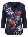 Frank Walder Navy/White/Red Front Print Jersey Top
