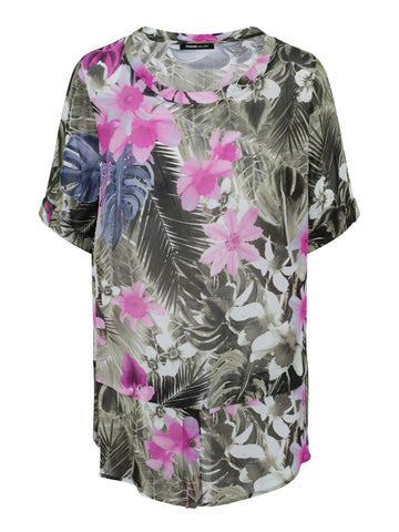Frank Walder Khaki/Fuschia Tropical Printed Woven Long Top