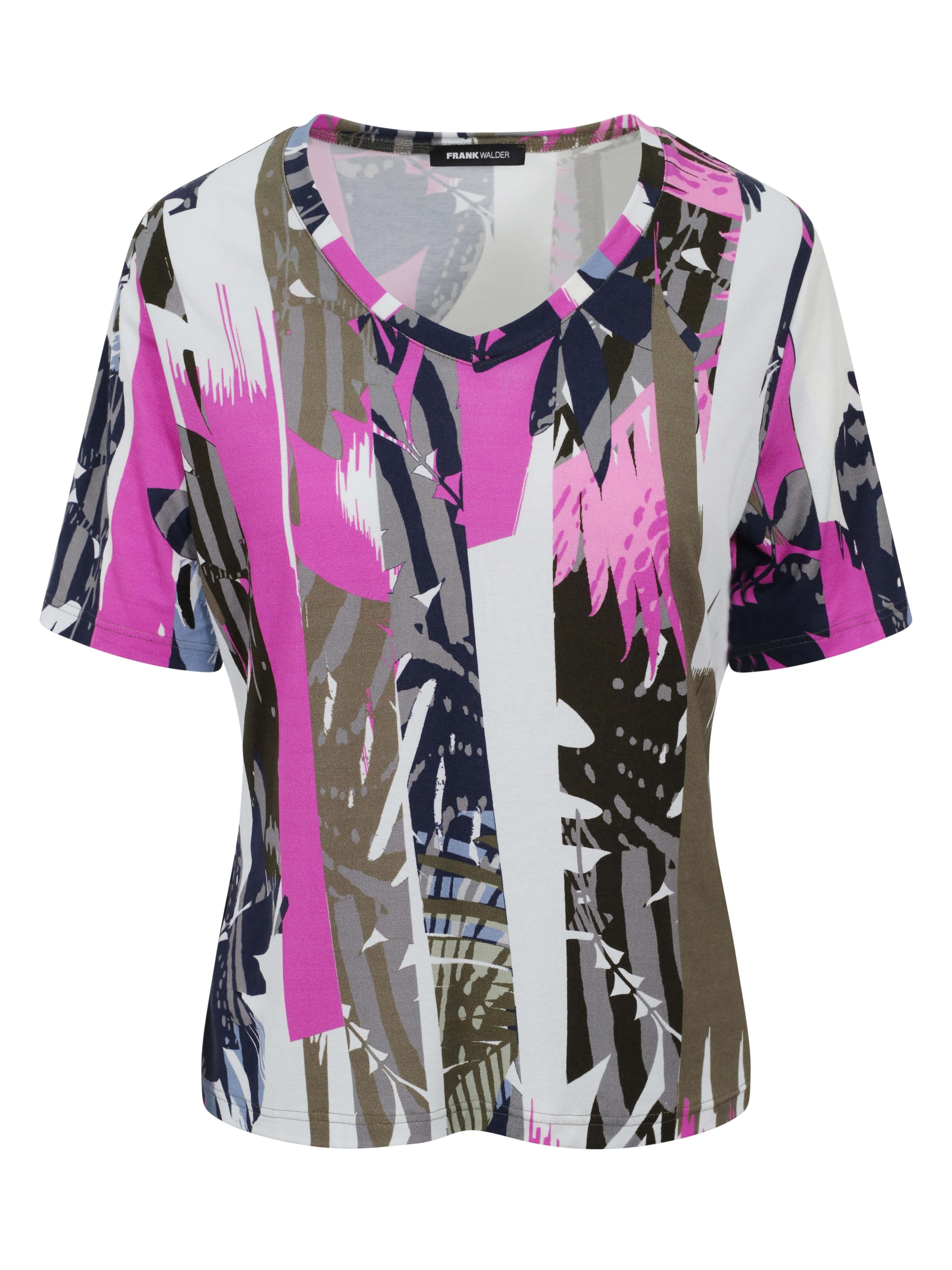 Frank Walder White/Khaki/Fuschia Printed Short Sleeve V-neck Jersey Top