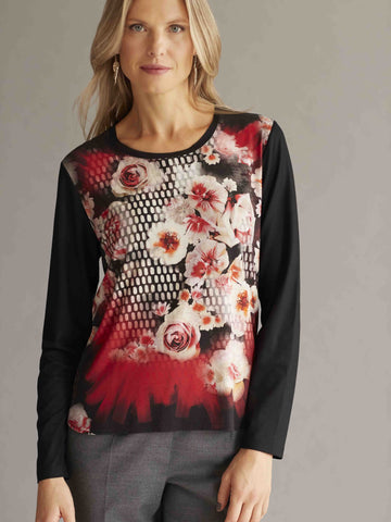 FRANK WALDER Black Jersey Rose Print Top
