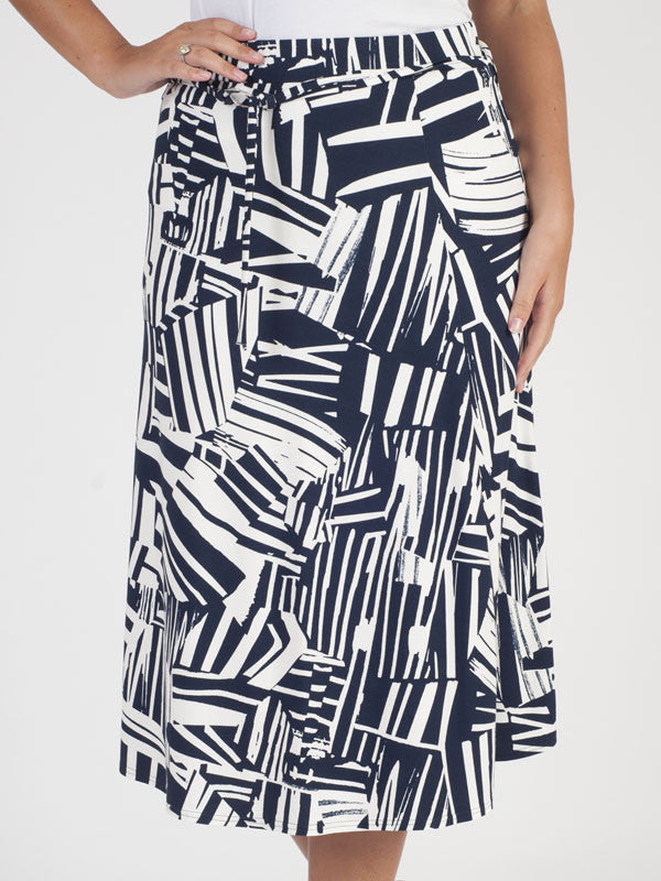 Frank Walder Navy Abstract Print Skirt