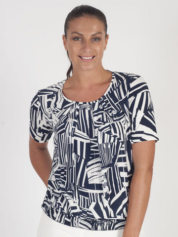 Frank Walder Navy Abstract Print Top