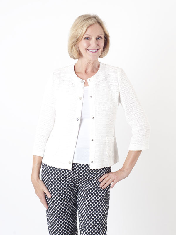 Gerry Weber White Textured-knit Jacket