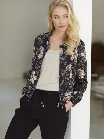 GERRY WEBER Black/Taupe Printed Woven Bomber Style Jacket