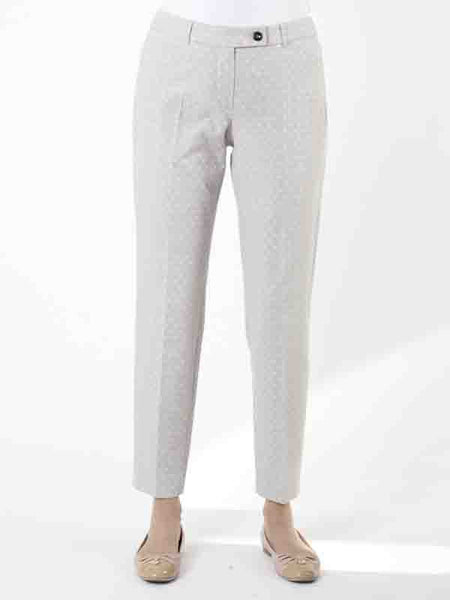 Taifun Pale Grey Jacquard Crop Trouser