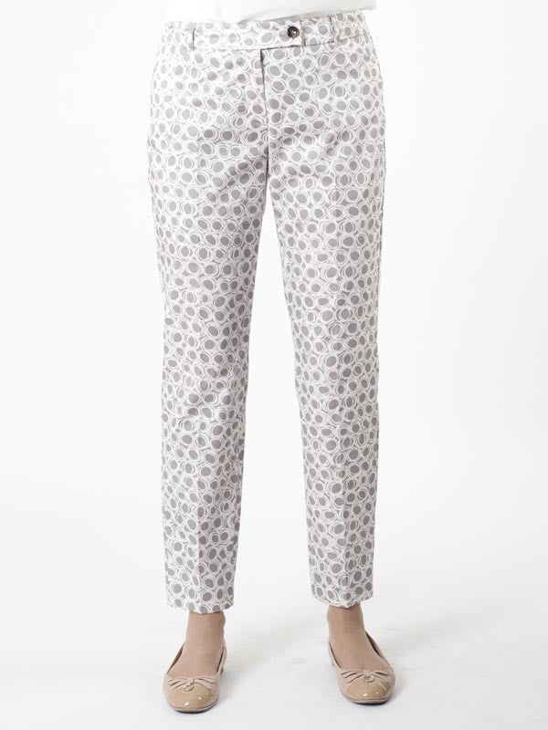 Taifun Printed Cotton Stretch Trouser