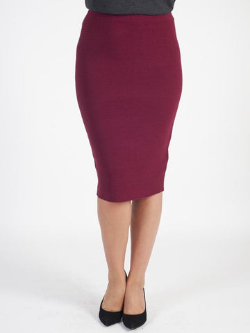 Gerry Weber Wine Ribbed Knit Skirt