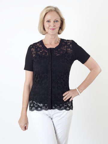 Gerry Weber Black Lace-front Cardigan
