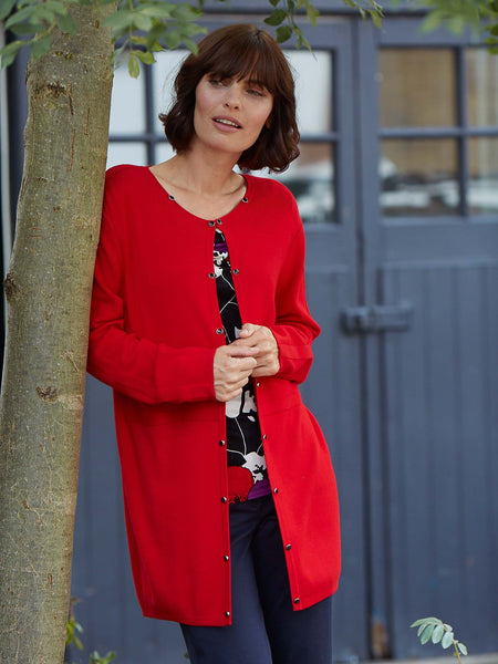 Gerry Weber Red Edge To Edge Long Cardigan