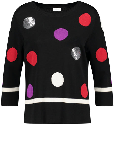 Black/Sand/Red Jumper With Coloured And Sequin Spots