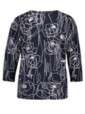 Gerry Weber Blue/Ecru/White Scribble Rose Print Jumper