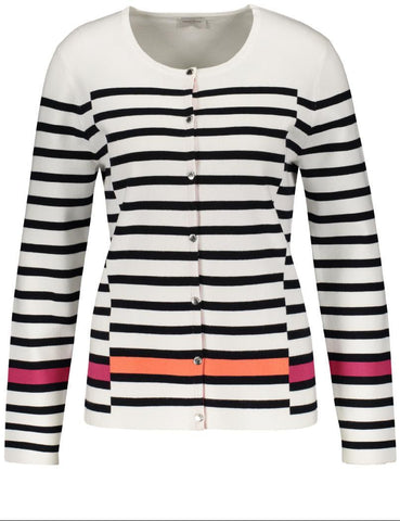 Gerry Weber White/Indigo Striped Cardigan with Contrast Stripe Hem