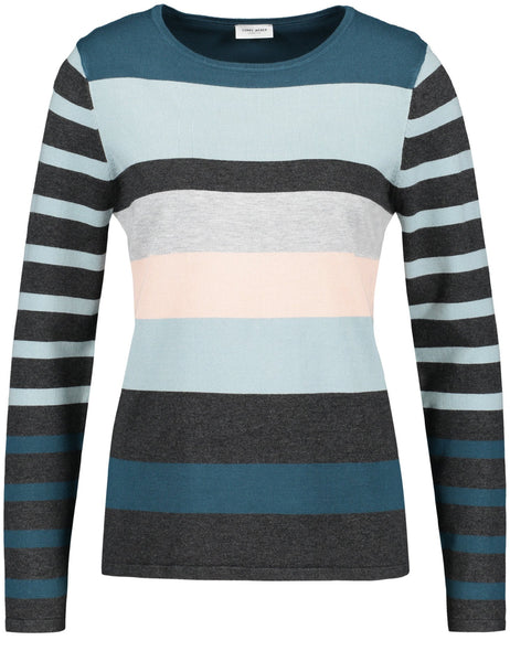 Gerry Weber Stone/Jade/Peach Stripe Fine Knit Jumper