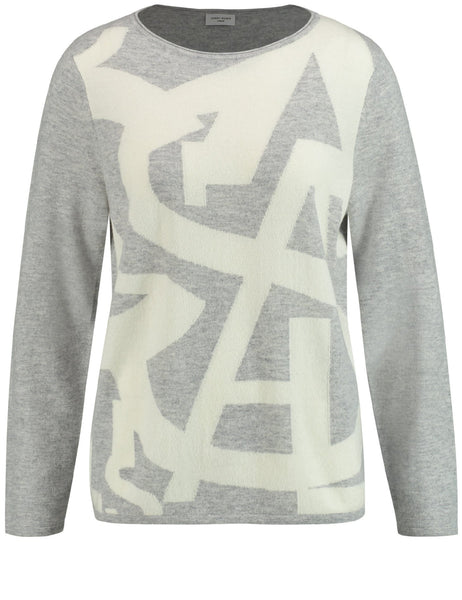 Gerry Weber Grey/Ecru/White Abstract Design Jumper