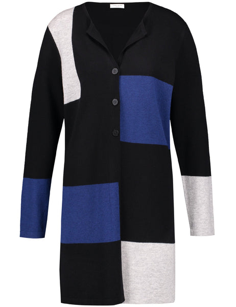 Gerry Weber Black/Blue Long Line Patchwork Cardigan