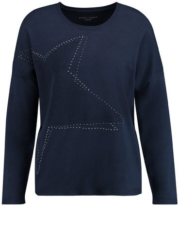 Gerry Weber Blue Jumper With Large Star On Front