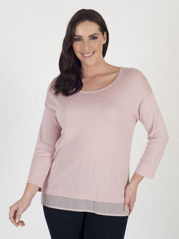 Gerry Weber Rose Pink Textured Spot Jumper