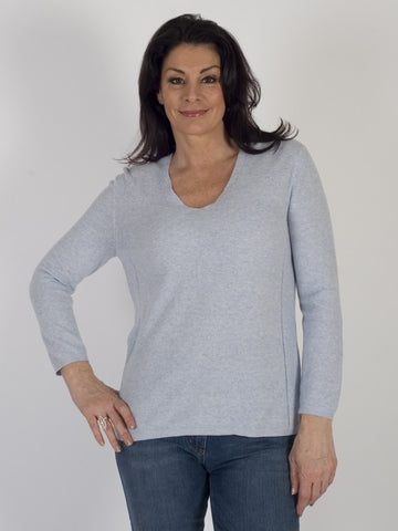 Gerry Weber Baby Blue Marl Cotton V-neck Jumper