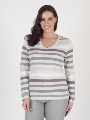 Gerry Weber Stripe V-neck Jumper