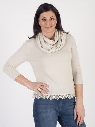 Gerry Weber Soft Knit Lace Trim Jumper