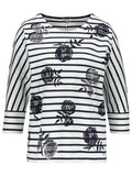 GERRY WEBER Navy/White Cotton Jersey Stripe/Floral Drop Shoulder Top