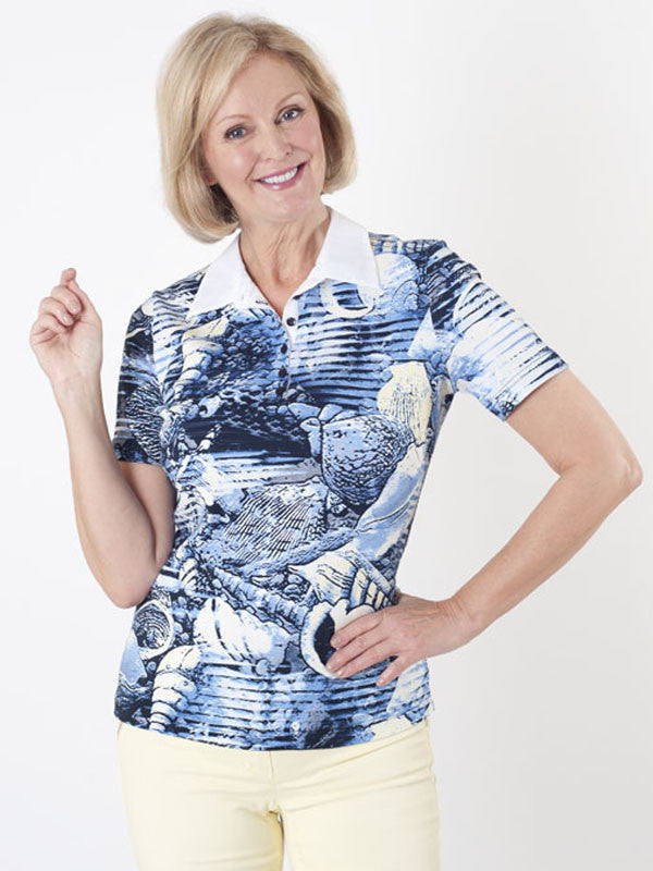 Gerry Weber Seashell-print Jersey Polo Top