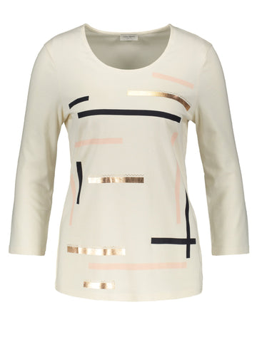 GERRY WEBER Off White Abstract Front Print ¾ Sleeve Top