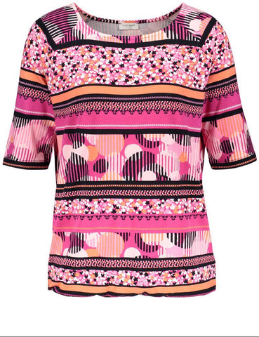Gerry Weber Pink/Black Printed Jersey Top