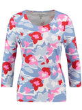 Gerry Weber Blue/White/Pink Printed ¾ Sleeve T-shirt