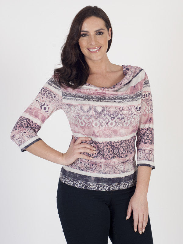 Gerry Weber Cowl-front Printed Jersey Top