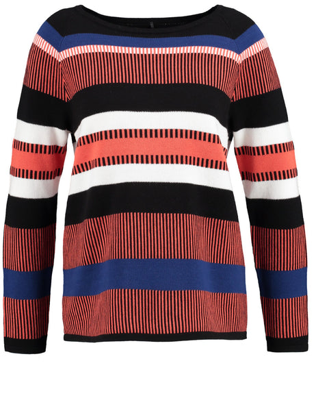 GERRY WEBER Colour-stripe Cotton Jumper