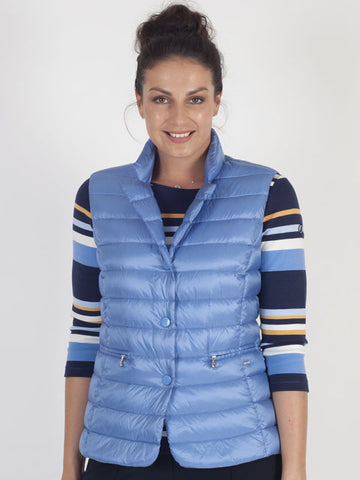 Gerry Weber Blue Button Front Quilted Gilet