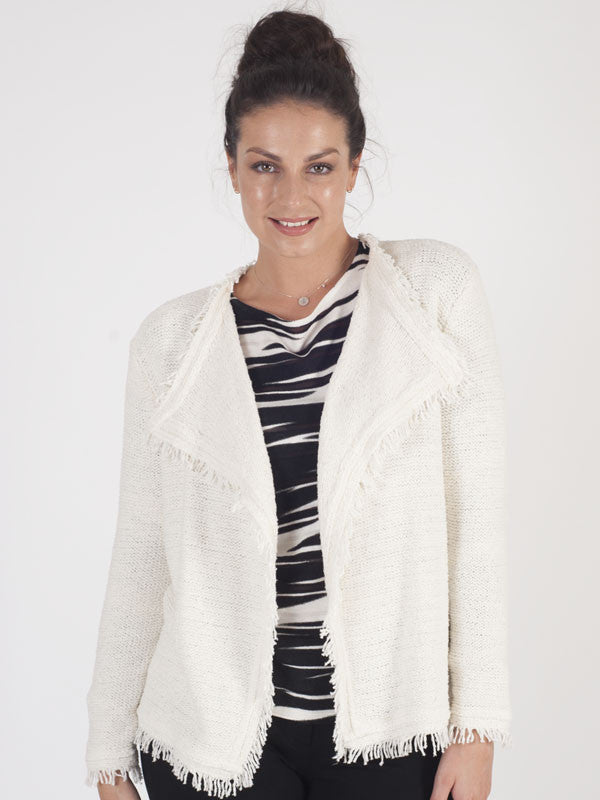 Gerry Weber Ivory Fringed Cardigan