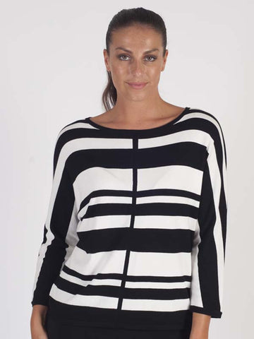Gerry Weber Black And White Stripe Jumper