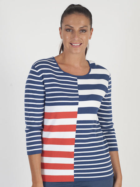 Gerry Weber Navy Colour Block Stripe Jumper