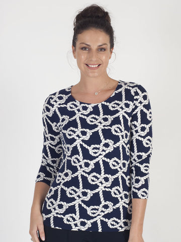 Gerry Weber Navy Rope Print Top