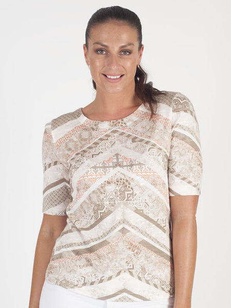 Gerry Weber Beige Abstract Stripe Print T-Shirt