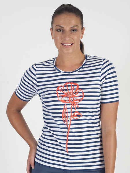 Gerry Weber Navy Stripe Flower Print T-Shirt