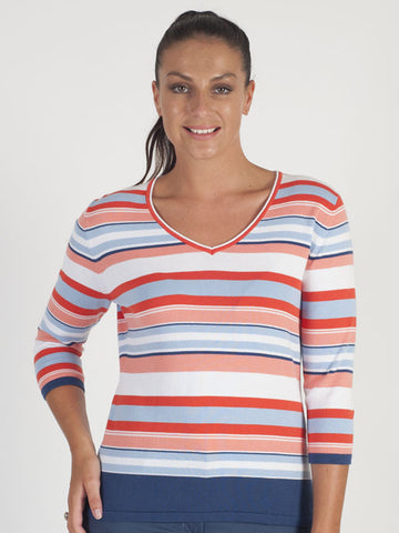 Gerry Weber Ivory And Red Stripe Knitted Jumper