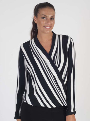 Gerry Weber Black And White Stripe Wrap Top