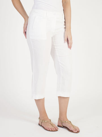 Gerry Weber White Linen Crop Trousers