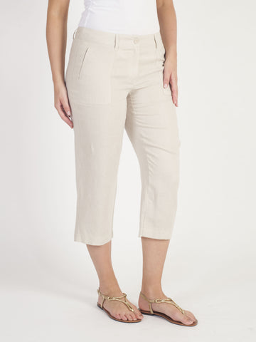 Gerry Weber Beige Linen Crop Trousers