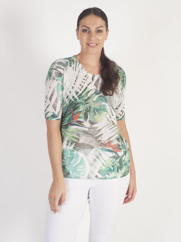 Gerry Weber Ivory Tropical Print T-Shirt