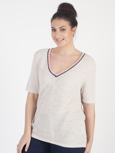 Gerry Weber Beige Knitted Rib Top