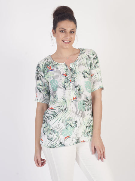 Gerry Weber Ivory Tropical Print Linen Blouse